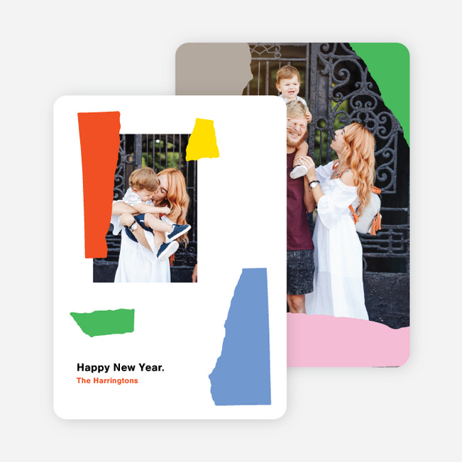 Colorful Paper Collage New Year Cards and Invitations - Multi