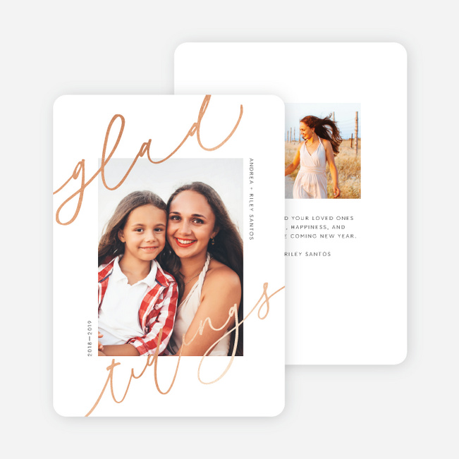Foil Glad Tidings Christmas Cards - Pink