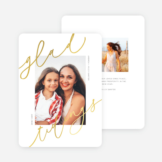 Foil Glad Tidings Christmas Cards - Yellow