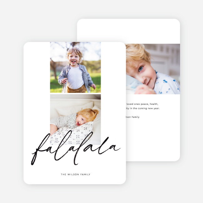 Playful Falalala Christmas Cards - Black