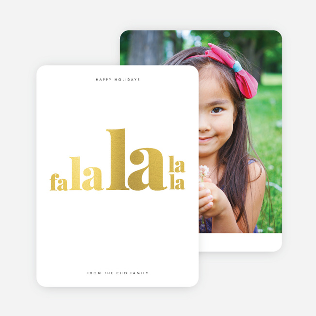 Foil Falala Hymn Christmas Photo Cards & Holiday Photo Cards - Yellow