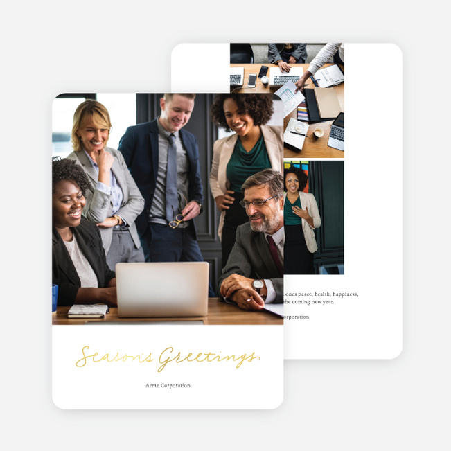 Warmest Greetings Business and Corporate Holiday Cards - Yellow
