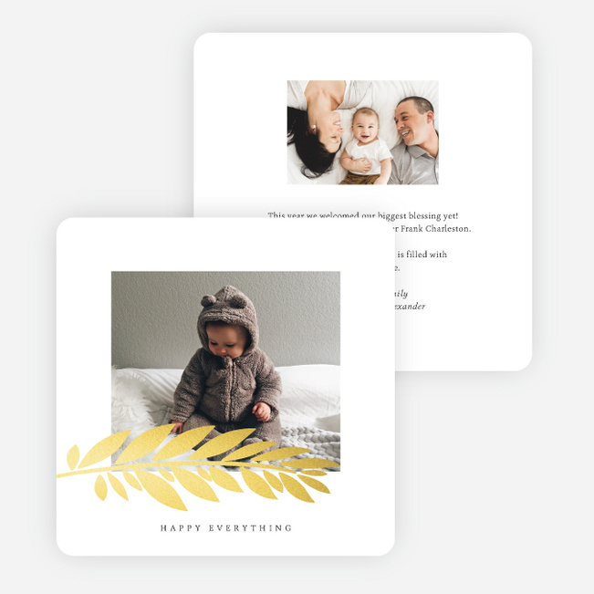 Foil Branch Stamp Multi Photo Holiday Cards - Yellow