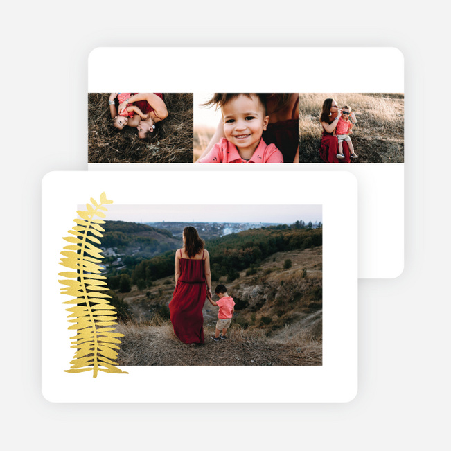 Foil Simple Fern Multi Photo Holiday Cards - Yellow