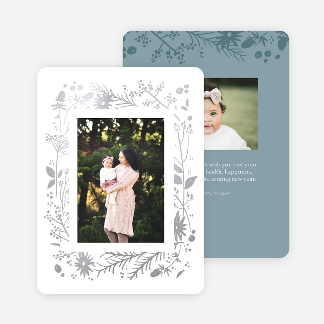 Foil Wildflower Wreath Multi Photo Holiday Cards - Blue