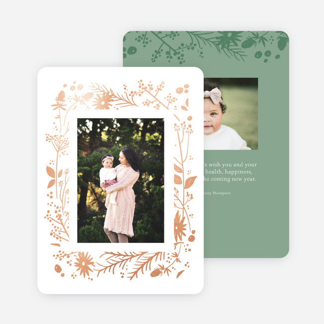 Foil Wildflower Wreath Multi Photo Holiday Cards - Green