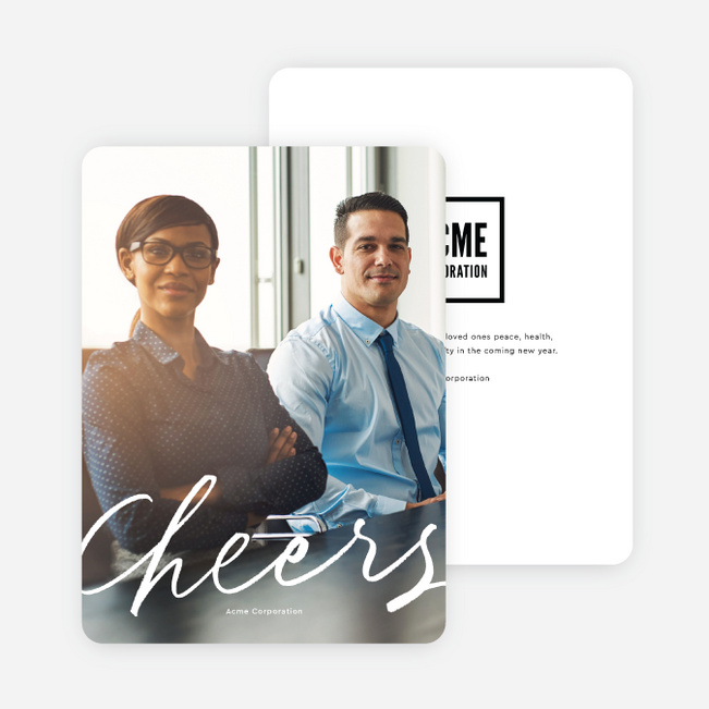 Cheers To You Business and Corporate Holiday Cards - White