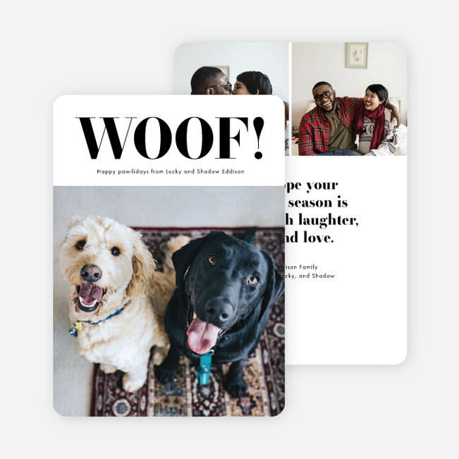 Dogs Rule Multi Photo Holiday Cards - Black