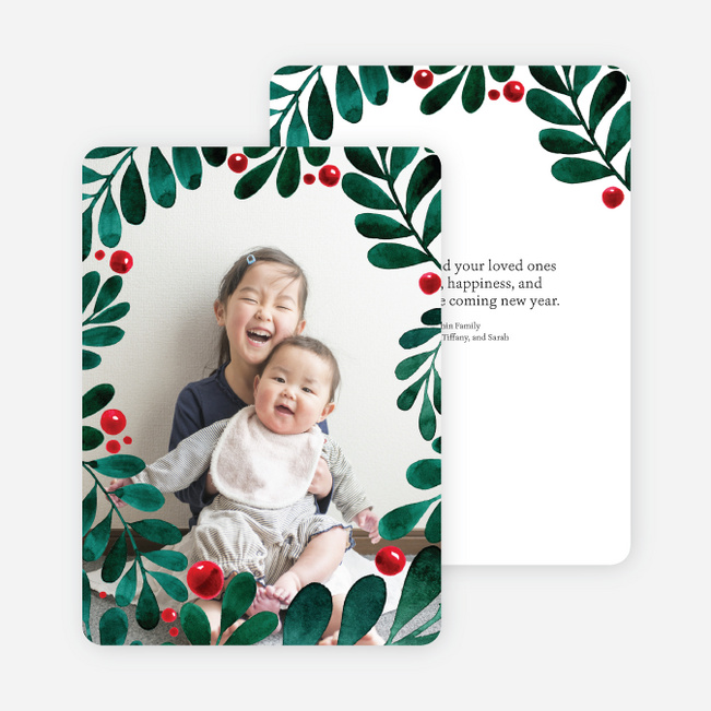 Holly Berry Border Christmas Cards - Green