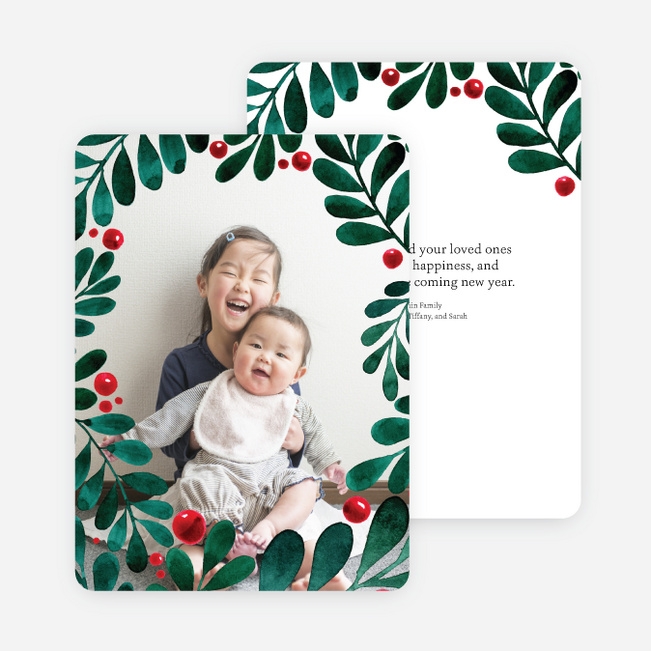 holly berry border christmas cards green - Photo Christmas Cards