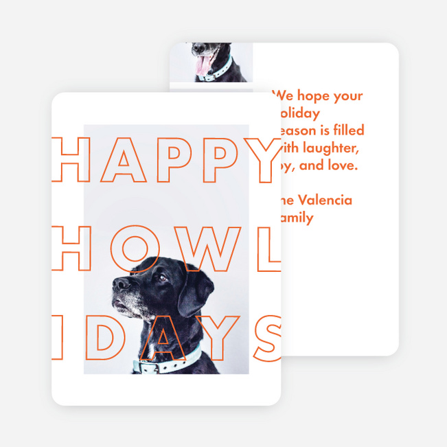 Happy Howlidays Multi Photo Holiday Cards - Orange
