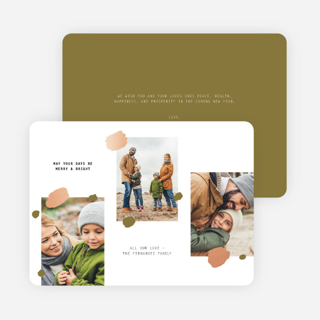 Sprinkled Wishes Multi Photo Holiday Cards - Green