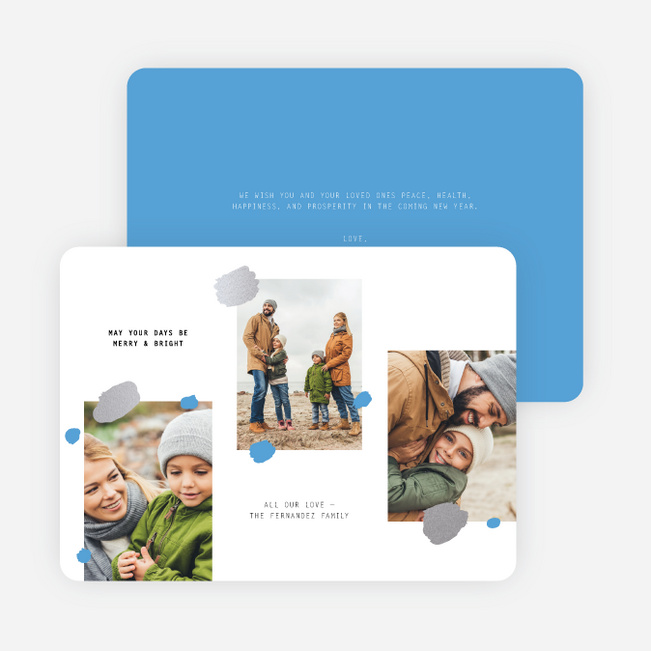 Sprinkled Wishes Multi Photo Holiday Cards - Blue
