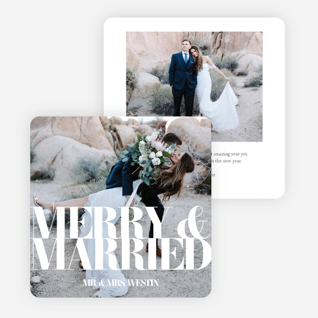 Married & Merry Multi Photo Holiday Cards - White