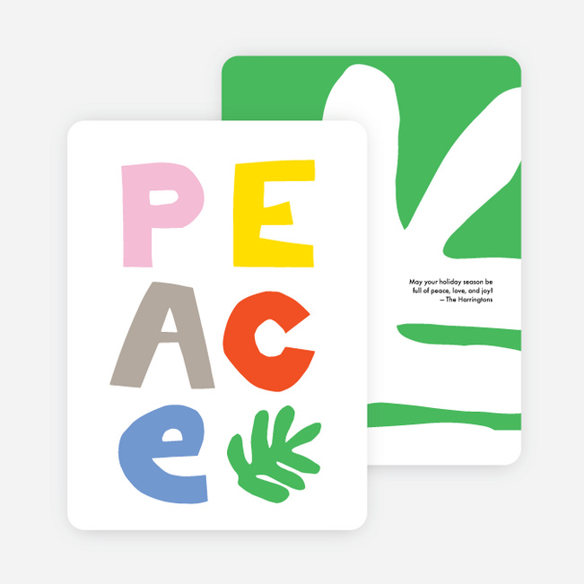 Peace Cut Out Multi Photo Holiday Cards - Multi