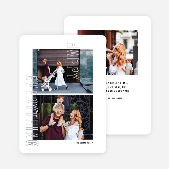 Foil Anyway Multi Photo Holiday Cards - Gray