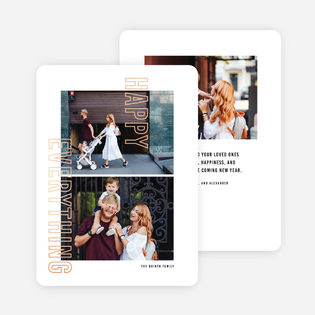 Foil Anyway Multi Photo Holiday Cards - Pink