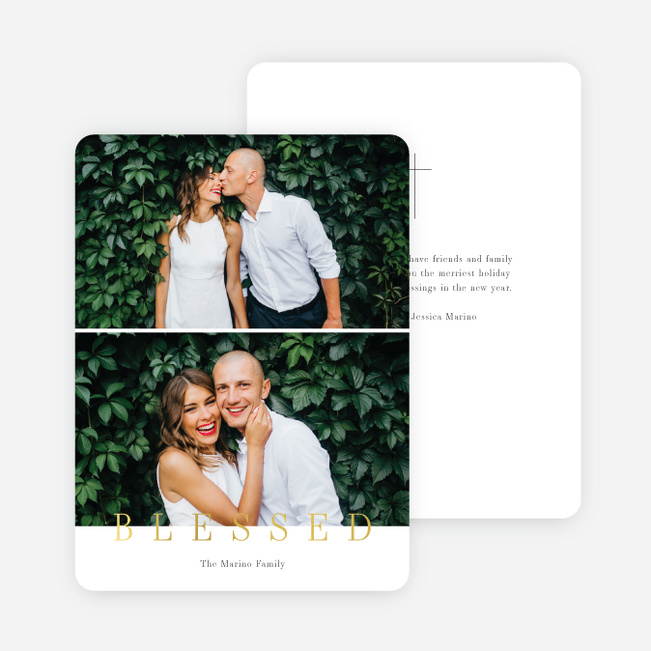 Foil Blessed Message Christmas Cards - Yellow