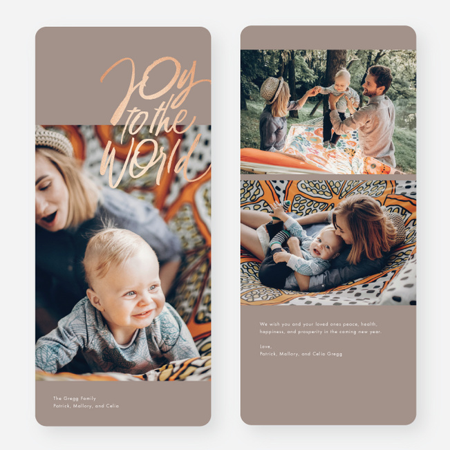 Foil Christmas Carol Multi Photo Holiday Cards - Gray
