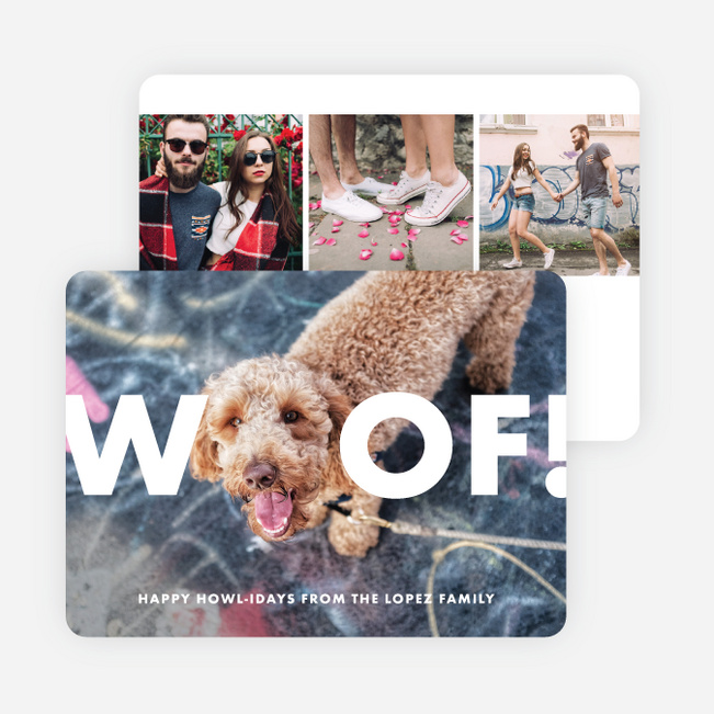 Big Woof Multi Photo Holiday Cards - White
