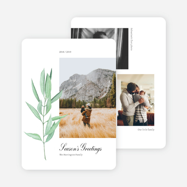 Leafy Bookmark Multi Photo Holiday Cards - Black