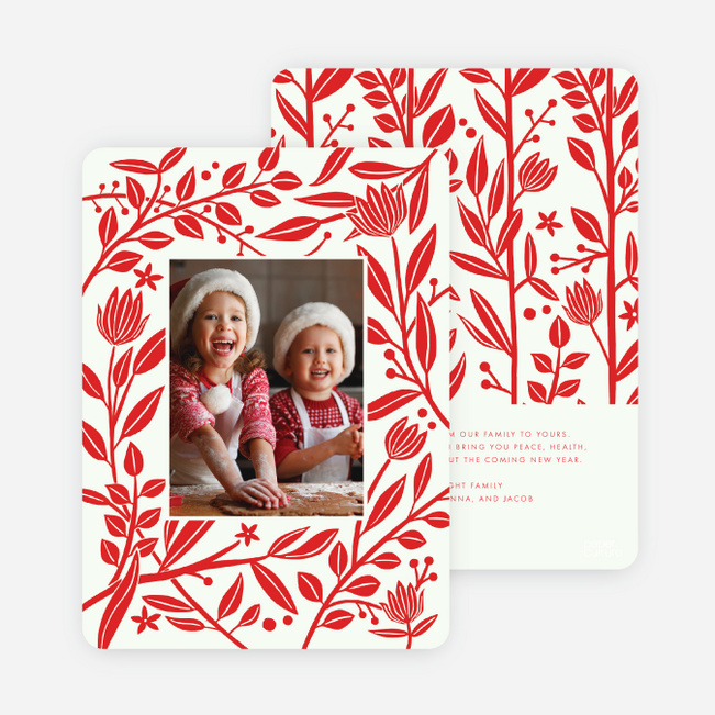 Festive Foliage Christmas Photo Cards & Holiday Photo Cards - Red