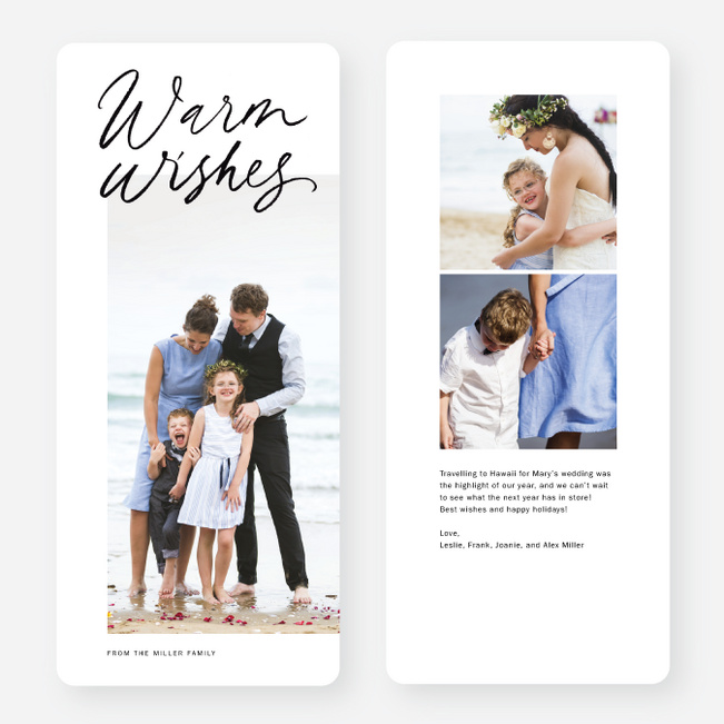 Warm Wishes Portrait Multi Photo Holiday Cards - Black