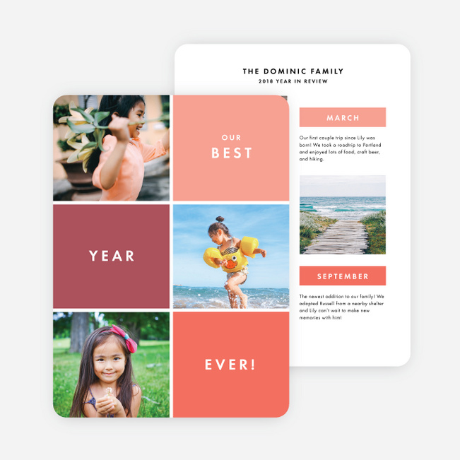 Best Year Ever Multi Photo Holiday Cards - Pink