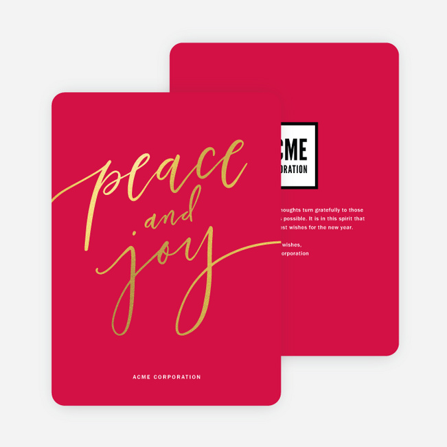 Foil Classic Message Business and Corporate Holiday Cards - Red