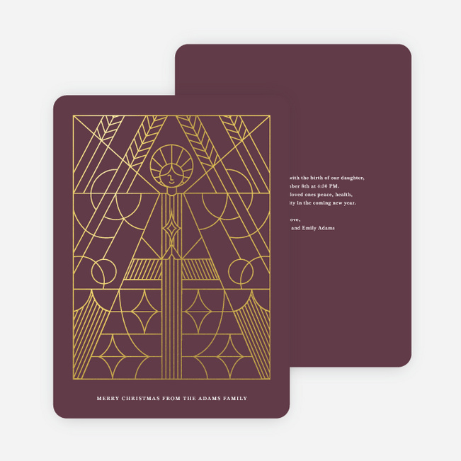 Foil Holy Angel Christmas Cards - Purple