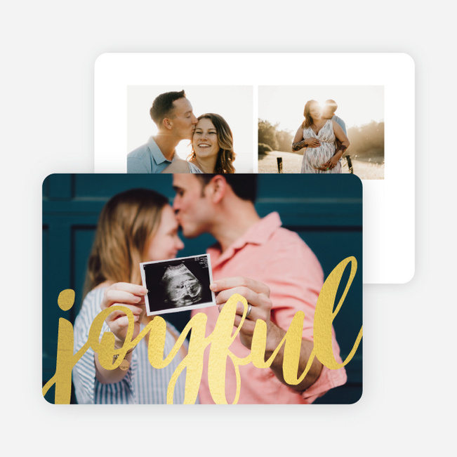 Foil Joyful Script Multi Photo Holiday Cards - Yellow