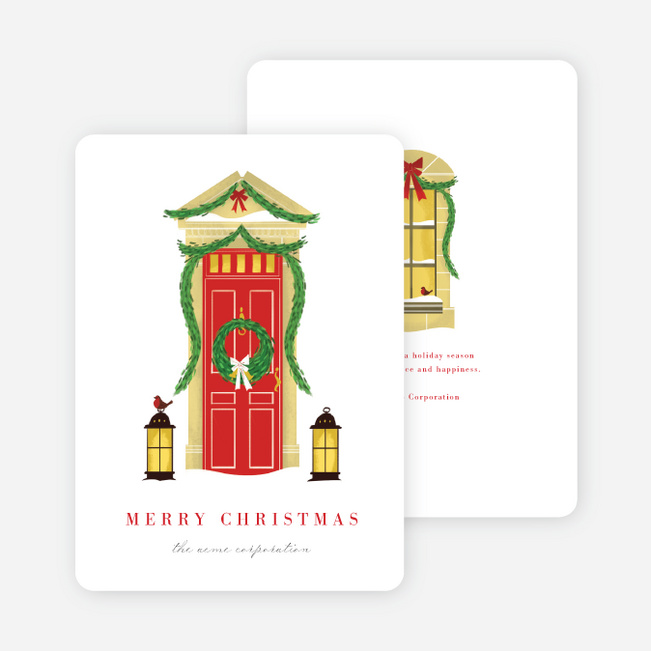 Garland Front Porch Business and Corporate Holiday Cards - Multi