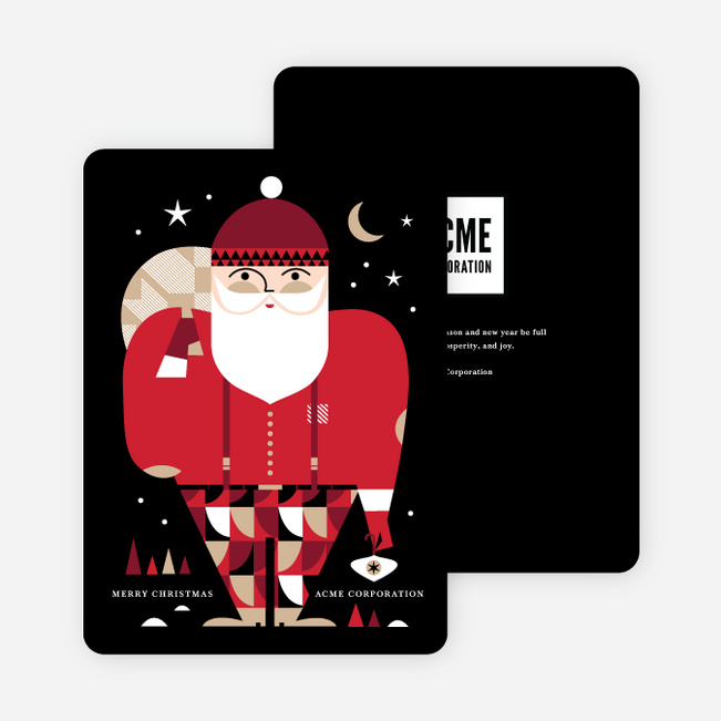 Modern Santa Business and Corporate Holiday Cards - Multi