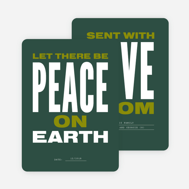 Peace Poster Multi Photo Holiday Cards - Green