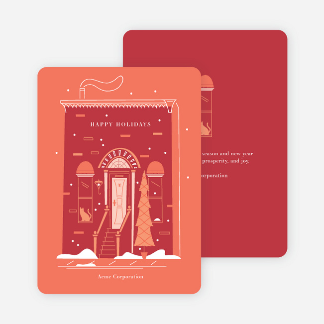 Seasonal City Living Business and Corporate Holiday Cards - Red