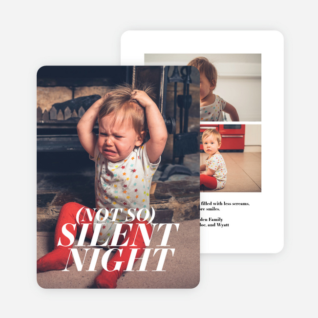 Not So Silent Multi Photo Holiday Cards - White