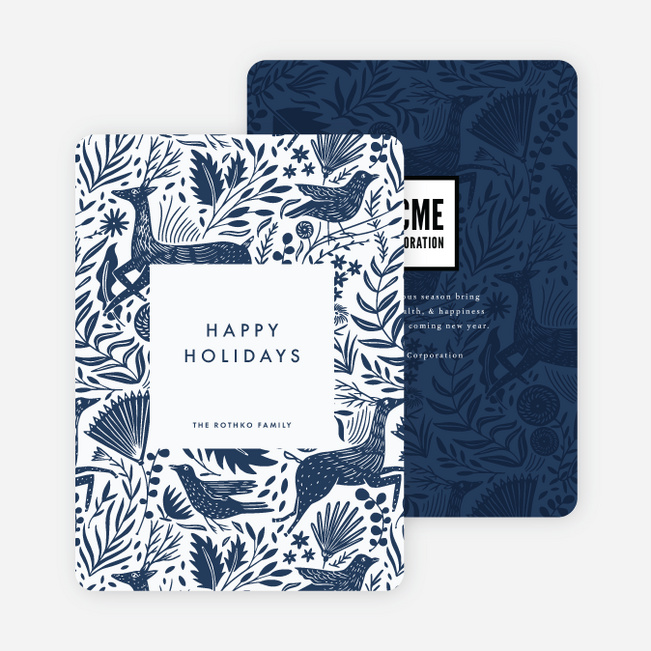 Winter Woodblock Pattern Business and Corporate Holiday Cards - Blue