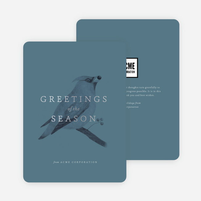 bird greetings business and corporate holiday cards blue - Best Holiday Cards