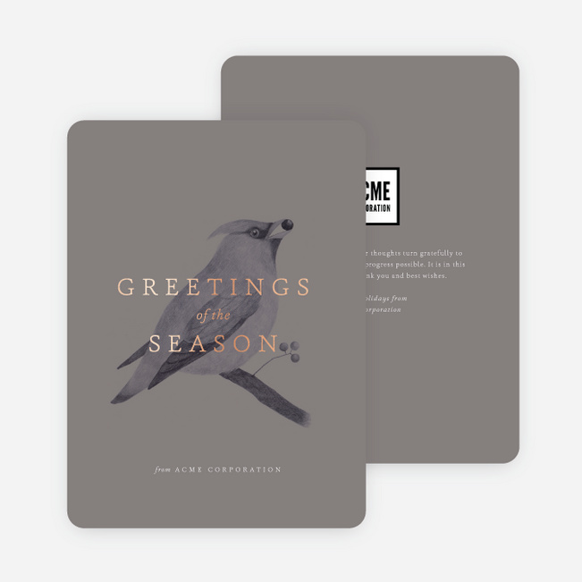 Bird Greetings Business and Corporate Holiday Cards - Gray