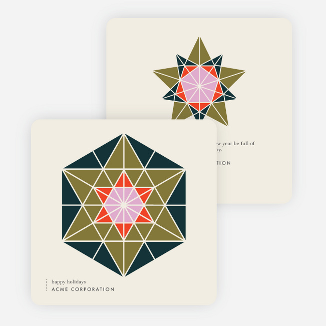 Color Block Star Business and Corporate Holiday Cards - Multi