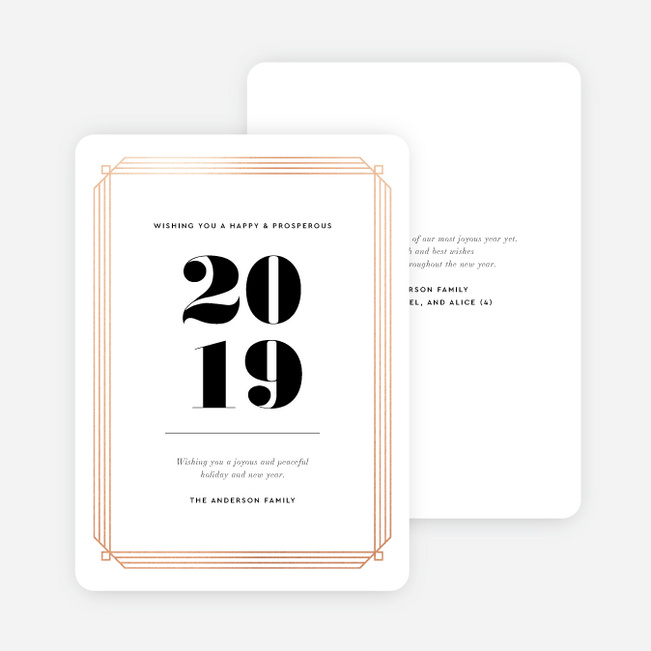 Deco The Halls New Year Cards and Invitations - Pink