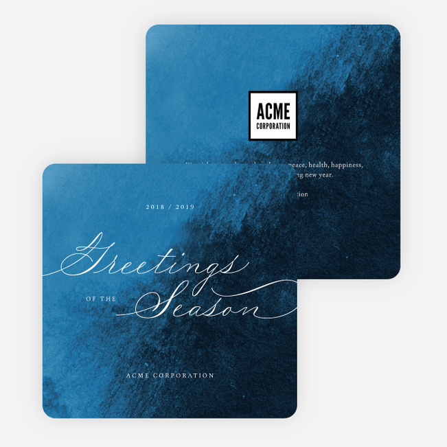 Delicate Script Business and Corporate Holiday Cards - Blue
