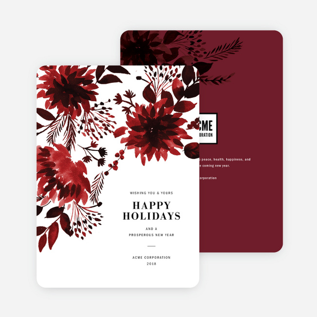 Festive Flora Business and Corporate Holiday Cards - Red