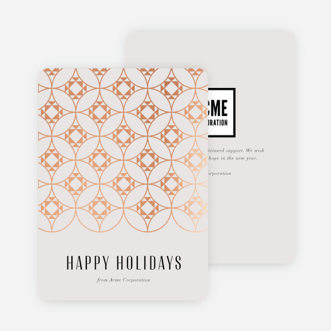 Foil Byzantine Business and Corporate Holiday Cards - Pink