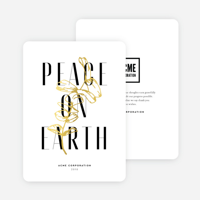 Foil Peace Offering Business and Corporate Holiday Cards - Yellow