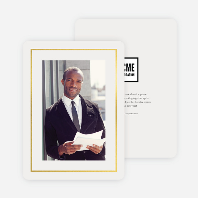 Foil Professional Frame Business and Corporate Holiday Cards - Yellow