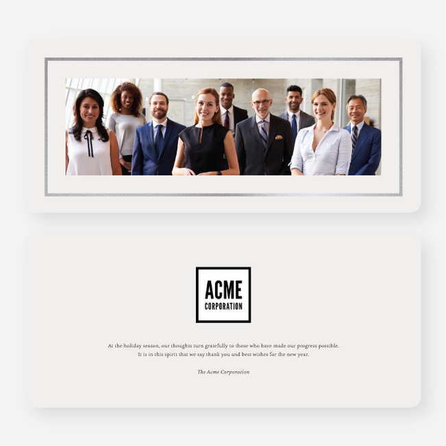 Foil Professional Frame Business and Corporate Holiday Cards - Gray