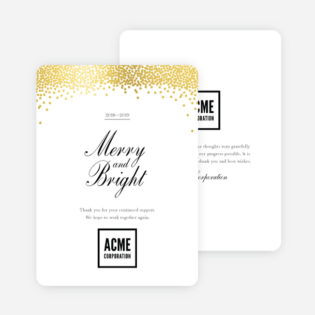 Foil Snow Header Business and Corporate Holiday Cards - Yellow