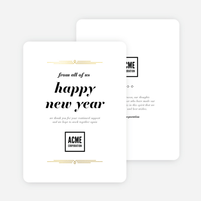 Foil Vintage Motif Business and Corporate Holiday Cards - Yellow