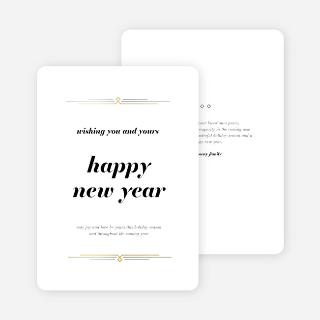 Foil Vintage Motif New Year Cards and Invitations - Yellow